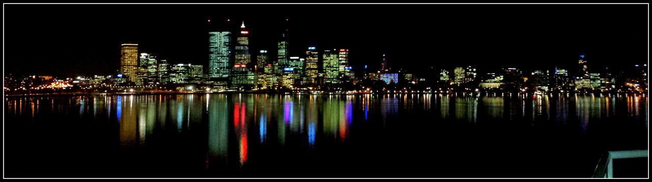 Architecture Building Exterior City Cityscape Hometown Illuminated Modern Multi Colored Night Outdoors Perth CBD Reflection Sky Skyscraper Urban Skyline Water Waterfront
