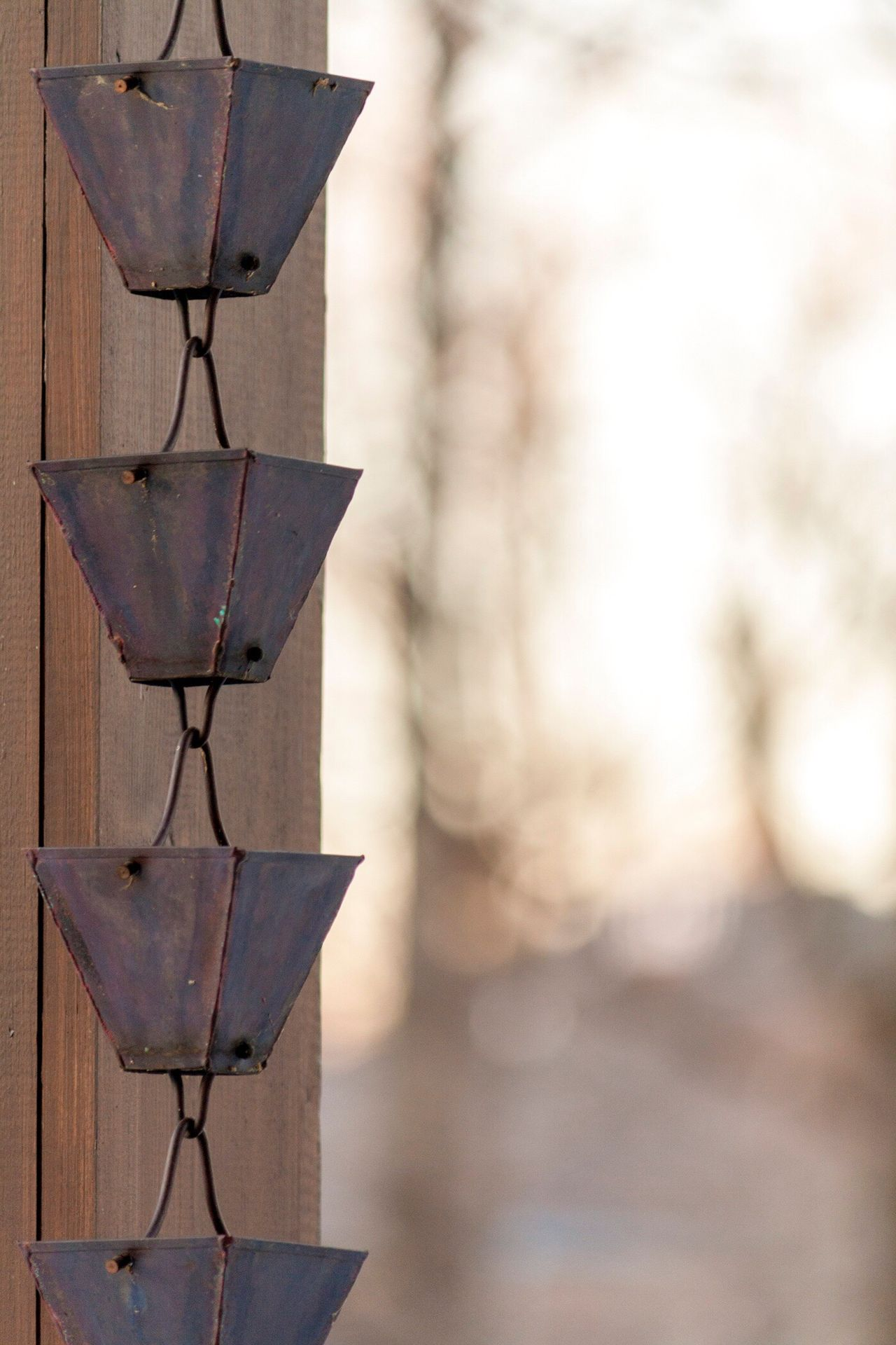 Focus On Foreground Rain Drainage Pipe Bells Close-up Hanging No People Rusted Metal  Rich Colors Browns Outdoors Backyard Deck Outdoor Living Dusk Dead Trees Dormant Dormant Trees End Of Day Close Up Man In Nature