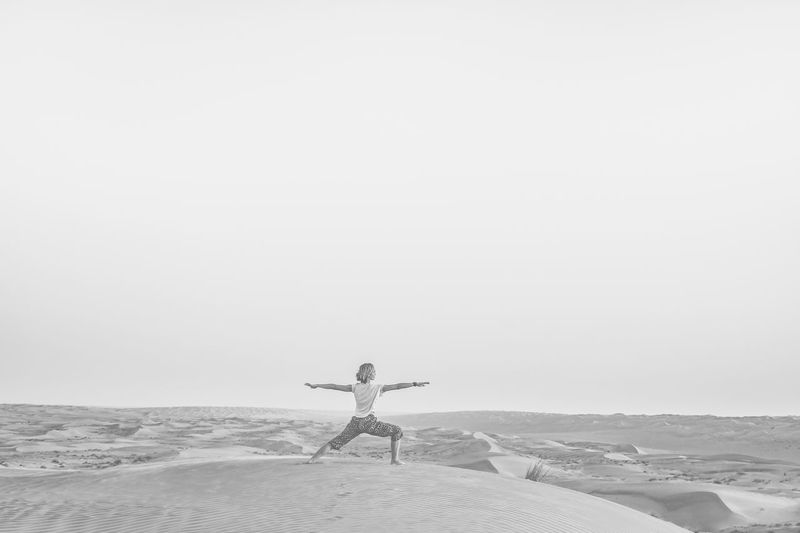 Beach Black And White Blackandwhite Clear Sky Desert Desert Oman One Person Outdoors Sand Wahiba Sands Yoga Yoga Pose