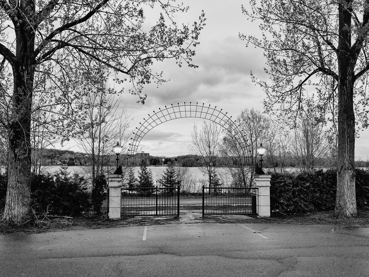 Sky No People Day Outdoors Nature Arch Railing Gate Black And White