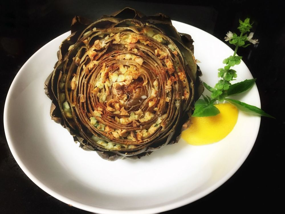 Roasted Artichoke Restaurant Life In Colors Nature Flower Green Foodporn Freshness Farmers Market Master_gardner Fatty Homemade Food