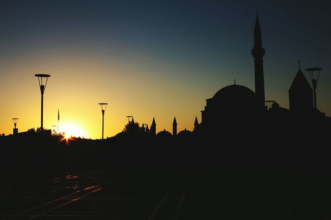 Silhouette Sunset Clear Sky Architecture Built Structure Outline Outdoors No People Tranquility Taking Photos EyeEm Gallery Nice On The Road Everyday Joy EyeEm Nature Lover Non-urban Scene Tranquil Scene Close-up Beauty In Nature Eye4photography  EyeEm Best Edits Different Happy Mevlana Mosque Museum