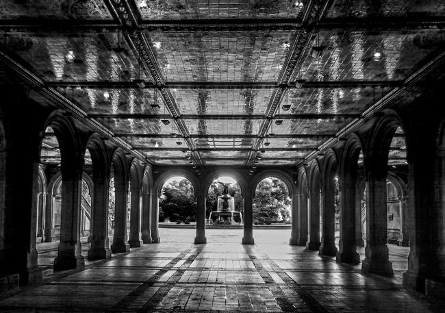 Bethesda Terrace Arcade 2 Arch Architectural Column Architectural Feature Architecture Bethesda Terrace Black & White Black And White Blackandwhite Blackandwhite Photography Showcase June Built Structure Ceiling Central Park CentralPark Column Corridor Diminishing Perspective In A Row Interior New York City No People NYC Photography Repetition Vanishing Point Battle Of The Cities
