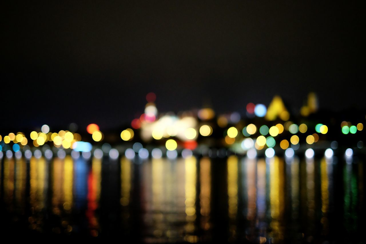 Blurred Skyline Blurred Reflection Cityscape Night Lights Night Colors