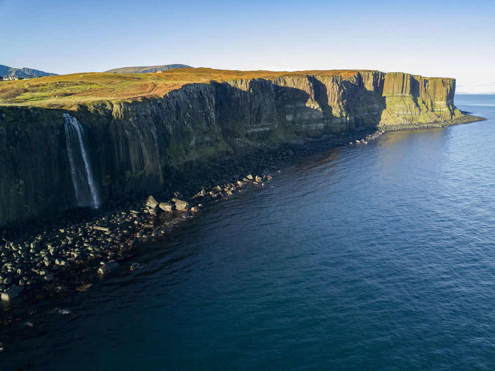 The legendary Kilt Rock from the air. Beauty In Nature Day Idyllic Isle Of Skye Kilt Rock Nature No People Outdoors Rock - Object Scenics Scotland Sea Sky Tranquil Scene Tranquility Water Waterfall