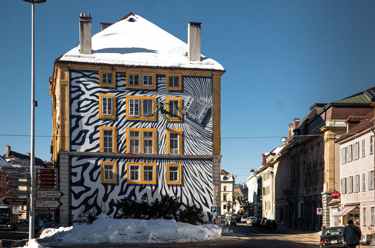 Switzerland, the watch, hour mile, industry, Le Locle Le Locle Architecture Blue Building Exterior Built Structure City Clear Sky Day Hour Mile Le Locle No People Outdoors Sky Snow