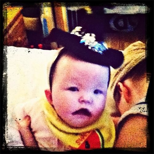My wee sis os ready for halloween (do i look scary)!!!!!!!!!!!:) LOL!
