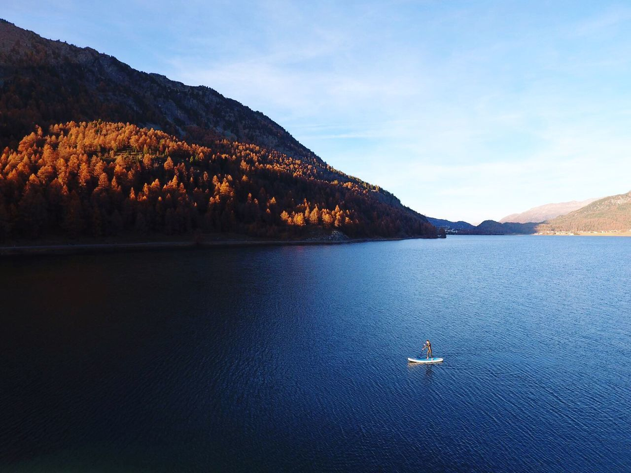 Autumn SUP at lake Silvaplana Mountain Lake Sup Outdoors Outdoorsports Dronephotography Switzerland Alps Autumn Freedom