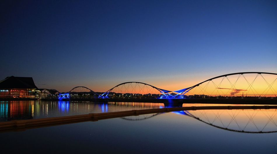 Arch Bridge Architecture Arizona Bridge Desert Engineering Eric Barnes Photography Geometry Horizontal Symmetry Outdoors River Sky Southwest  Tempe Learn & Shoot: After Dark Landscapes With WhiteWall Blue Wave The Great Outdoors With Adobe The Architect - 2016 EyeEm Awards