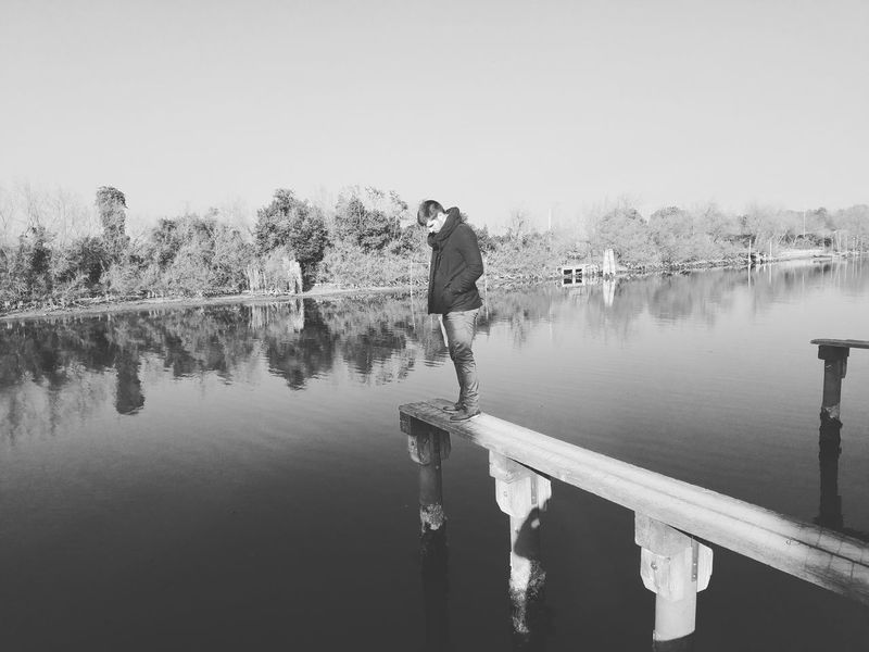 On the edge Water Lake Outdoors Nature People Vacations Eyeemphotography Real People Taking Photos Love♥ Enjoying Life Blsckandwhite Welcome To Black
