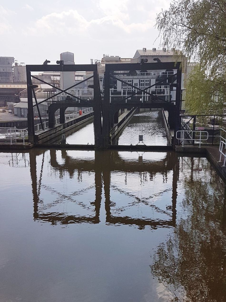 Angles Angles And Lines Shapes And Forms Reflection Water Sky Bridge - Man Made Structure Outdoors Industrial Area Technology Low Angle View Andertonboatlift Metalwork What's Beneath? Looking Down Backgrounds No People