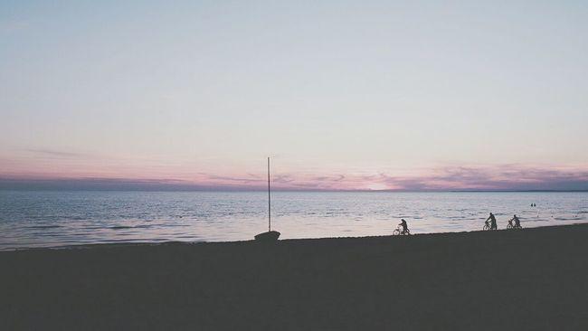 Sunset Sunset Silhouettes Sea And Sky Sea Sky Bikes Swimming Boats⛵️ Boat