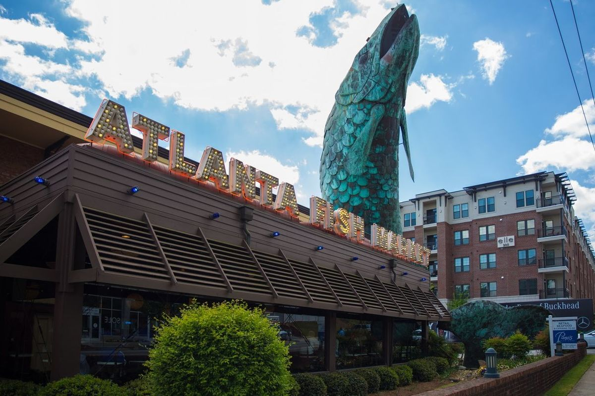 Architecture Building Exterior History Built Structure City Travel Destinations Low Angle View Outdoors No People Day Sky Politics And Government Fish Restaurant Atlanta Buckhead