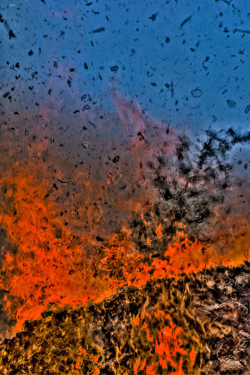 world is incinerated Blaze Bonfire Dondo Fire Flame Nara Nara,Japan Red Sky
