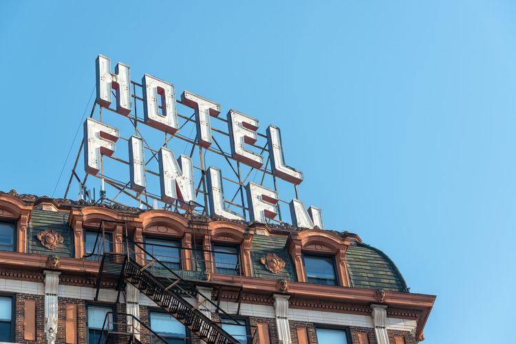 BUTTE, MT - AUGUST 21: Closeup view of historic Hotel Finlen in Butte, MT on August 21, 2015 Architecture Architecture Blue Brick Building Exterior Butte, Montana Butte, MT Center Clear Sky Day District Downtown Finlen Historic Historical Building Hotel Main Street Main Street USA Montana No People Outdoors Sky Travel USA