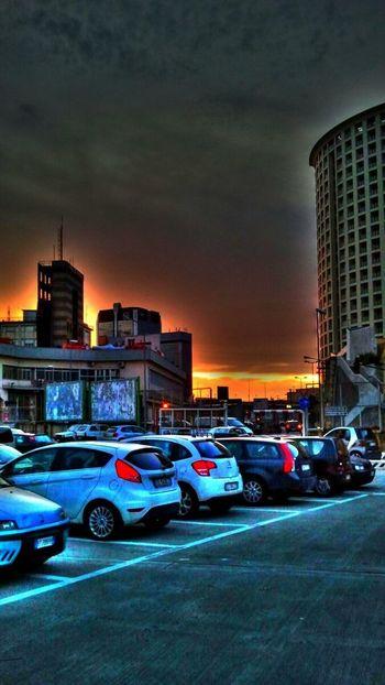 Hdr Edit Sunset Parking Buildings