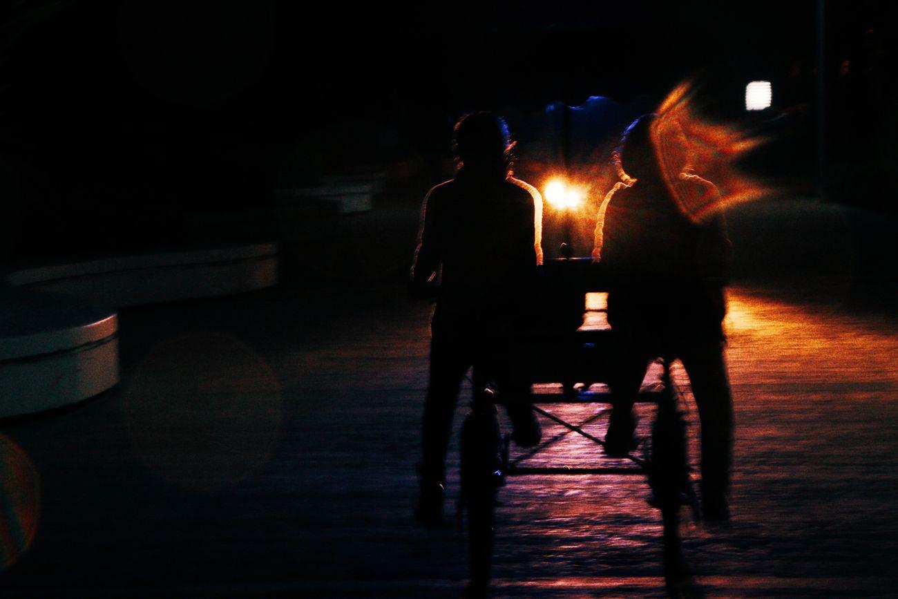 Two People Night Dark Nightlife Night Photography Illuminated Light And Shadow