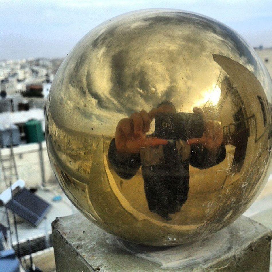 Golden Ball Altin Top reflection sun gunes bulut clouds amman jordan urdun me spherical