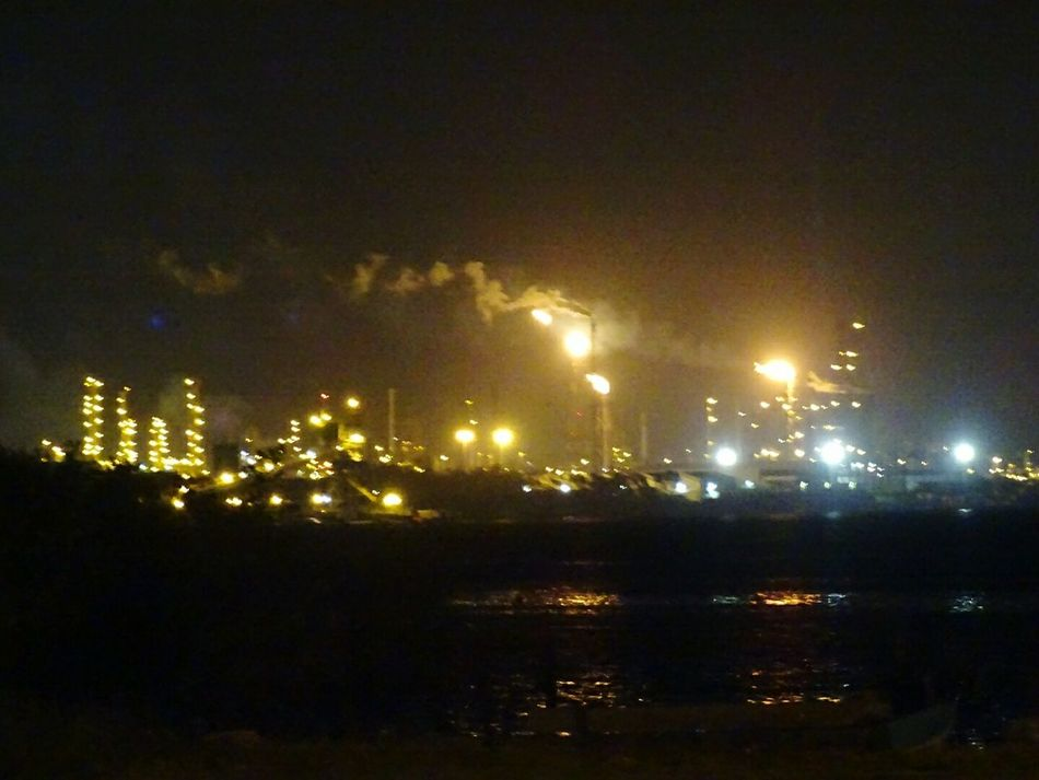 Night Reflection Illuminated Outdoors Refinery