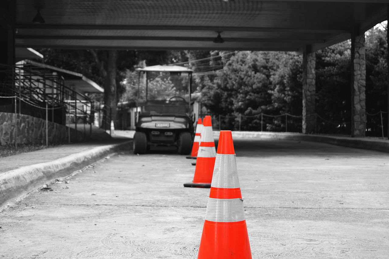 traffic cone, transportation, safety, red, built structure, no people, architecture, day, outdoors