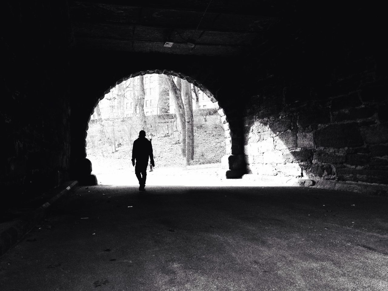 Silhouette Real People Walking Full Length Unrecognizable Person Arch Rear View Built Structure Day Tunnel Architecture Outdoors One Person Black And White