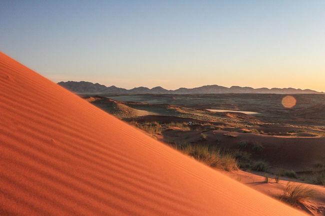Calm Distant Dune Kanaan Namibia Outdoors Sand Sunset Trip
