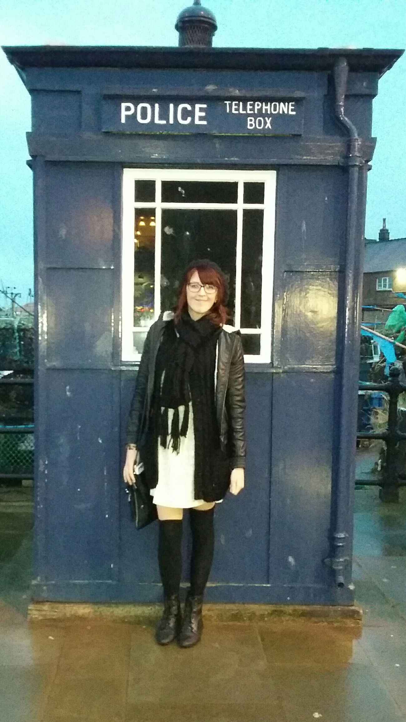 Police Telephone Box Old Telephone Box Blue Telephone Box Police Box (TARDIS) Police Box Blue Box Smiling Like A Freak Scarf ❄✌ Freezing ❄ Coldness Uk Weather Next To The Sea