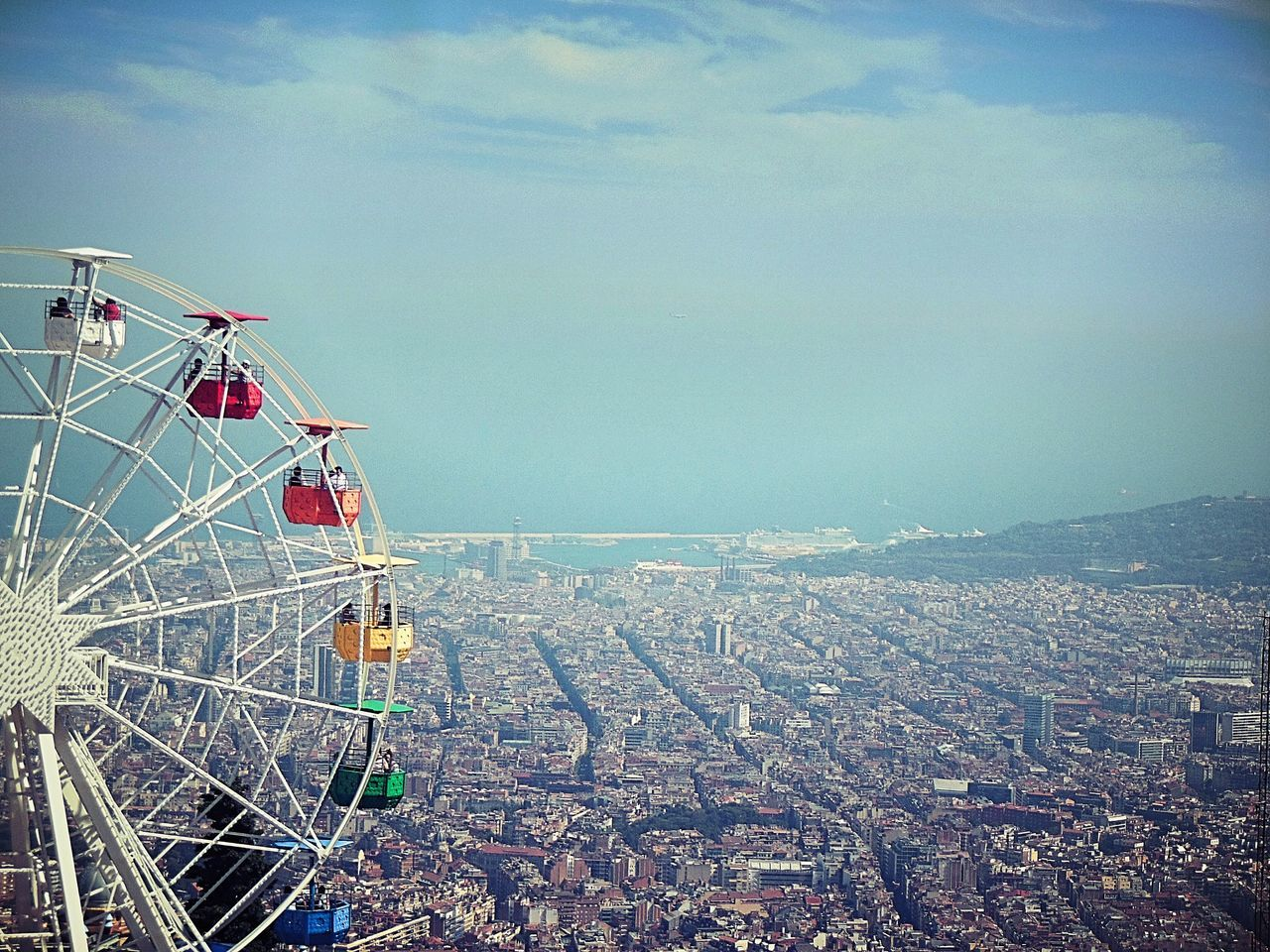 Barcelona SPAIN Cityscape Outdoors Building Exterior No People City Architecture Sky Nature Tibidabo Montains    Riesenrad Colors Day Memories Spanien Skyline Tibidabo Mountain