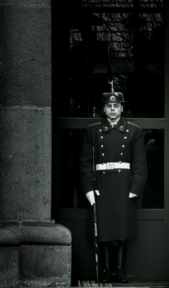 Guarding the palace Armed Bulgaria Full Length Monochrome Occupation Presidential Guard Real People Sofia Sofia, Bulgaria Soldier Standing Uniform Wall Working Young Men