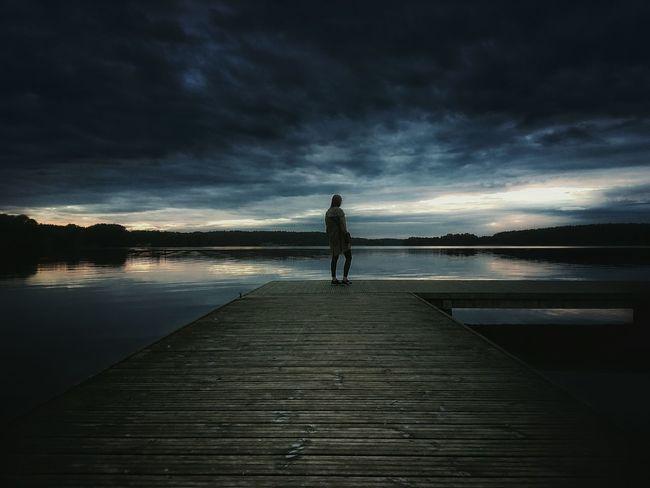 People And Places Lake Sunset Poland Warmia Ukiel Nature Water Sky Person Cloud - Sky Woman Portrait