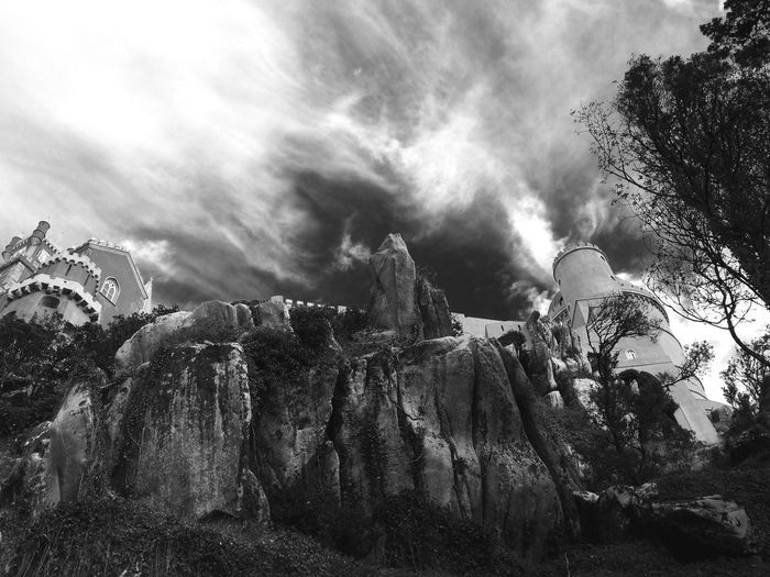 Blackandwhite Sintra Clouds Castel Fine Art Photography l Light And Shadow