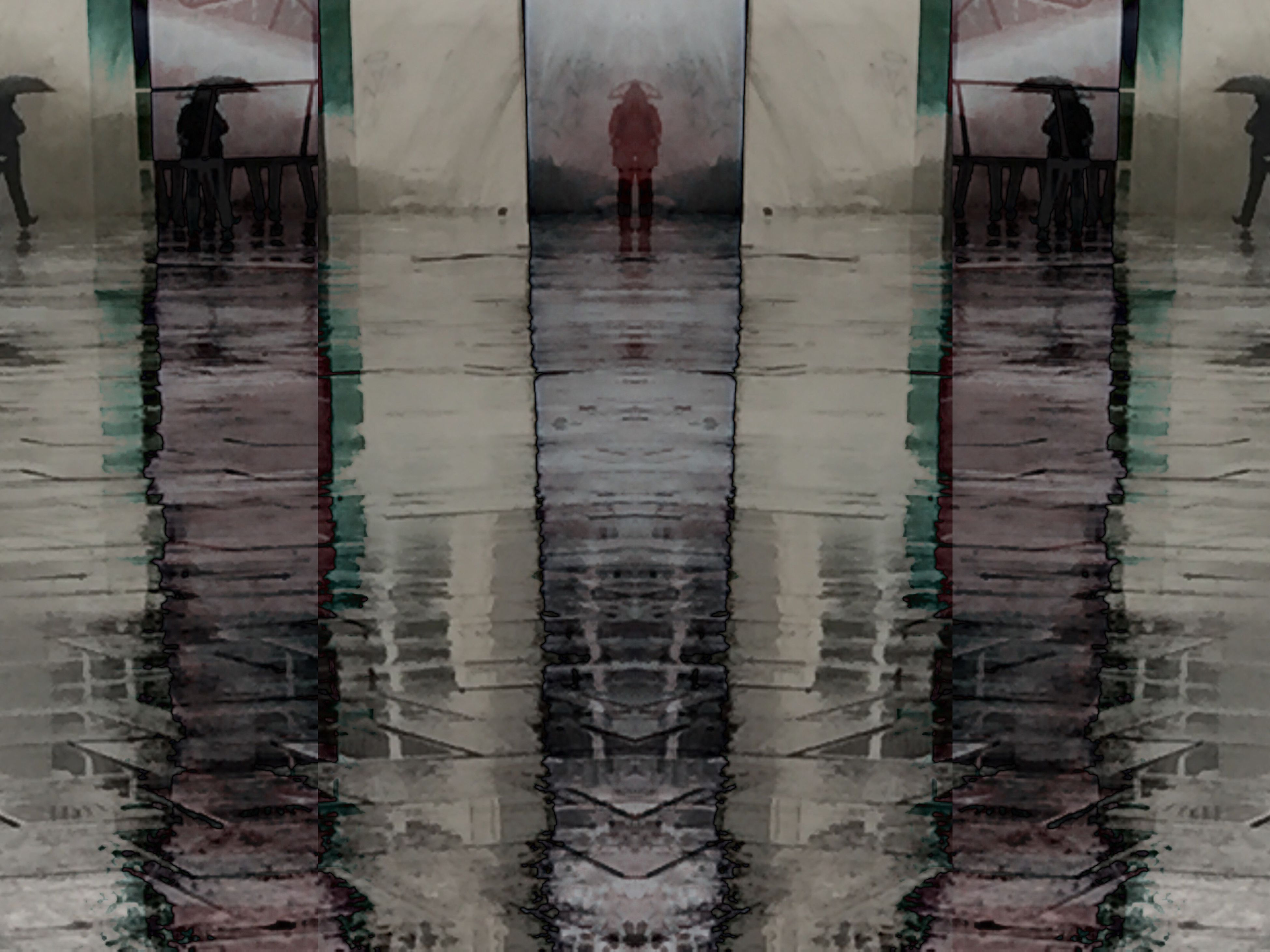 reflection, rain, wet, weather, puddle, men, real people, outdoors, adult, people, adults only, day
