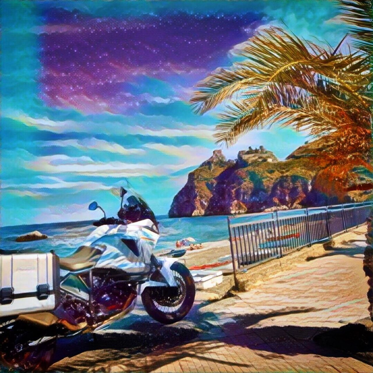 sea, transportation, beach, sky, motorcycle, tree, day, outdoors, palm tree, nature, no people