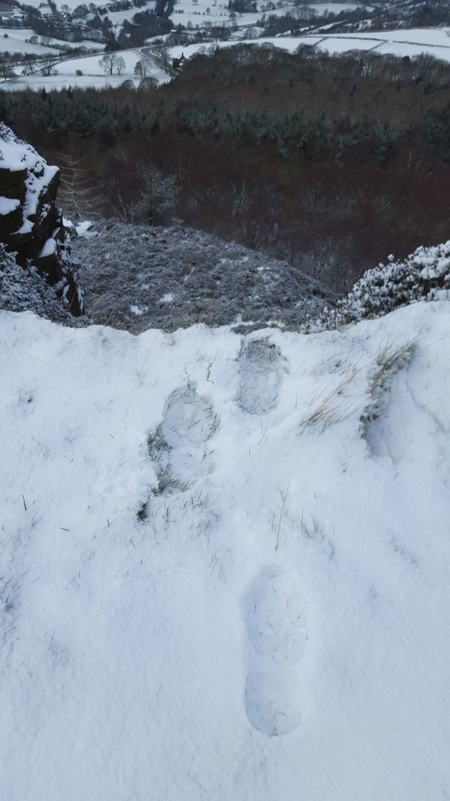 Snow has arrived in Sheffield Snow Footprints Cliff Walking Cold Chilly