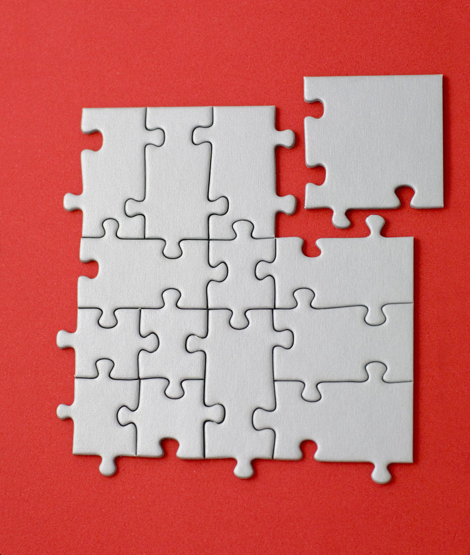 grey jigsaw with the missing piece laying aside - in form of a square Business Business Finance And Industry Close-up Competition Concept Conceptual Connection Education Grey Ideas Incomplete Jigsaw Piece Jigsaw Puzzle Meeting Pattern Puzzle  Red Solution Space Standing Out From The Crowd Strategy Teamwork Textured  Togetherness Working