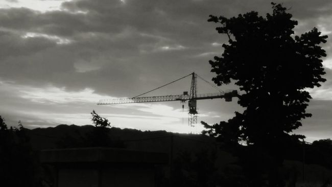 From My Doorstep Under Control Under Construction Hello World Cityscapes Sunset Bnw_sunset Blackandwhite Monochrome photo by my 12 y.o. brother, with my nexus 5