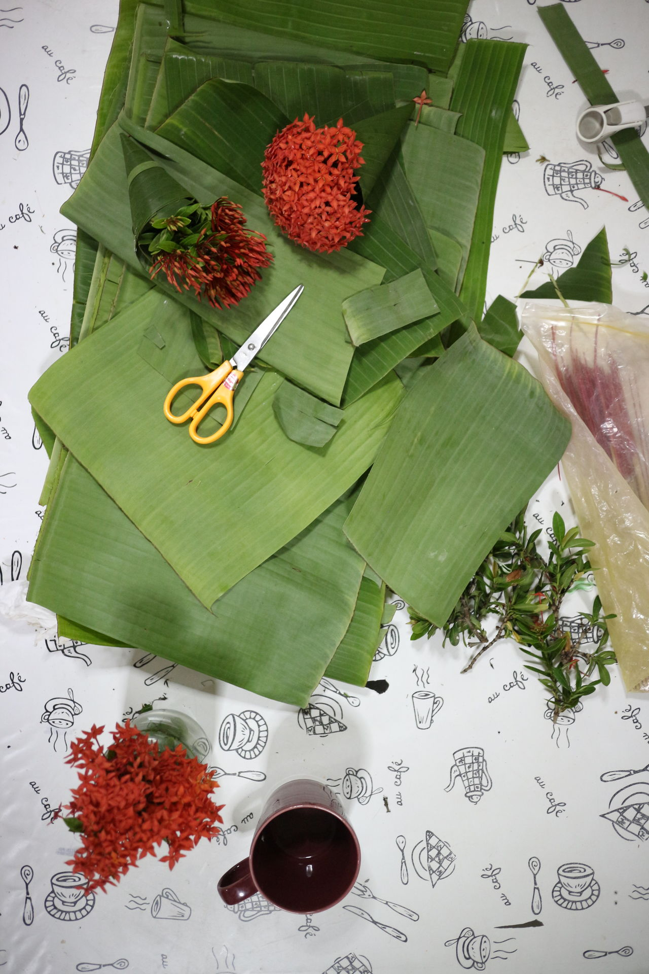 Banana Close-up Flower Food Freshness Healthy Eating High Angle View Indoors  Leaf No People Red Scissors Text