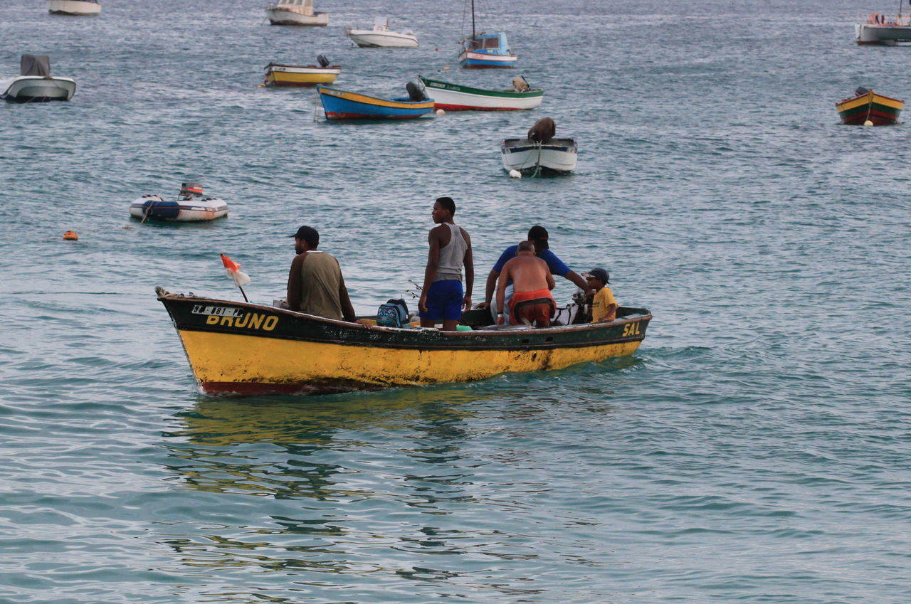Capo Verde Day Full Frame Shot Harbour Lifestyles Men Mode Of Transport Nautical Vessel Outdoors People Real People Sal Island Santa Maria Sea Summer 2015 Water Women