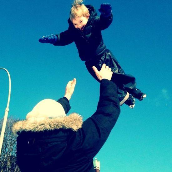 Sol! IPhoneography Sky Boy Winter Blue Child Jump Iphonesia Jj  15likes Colorlove Fatherandchild