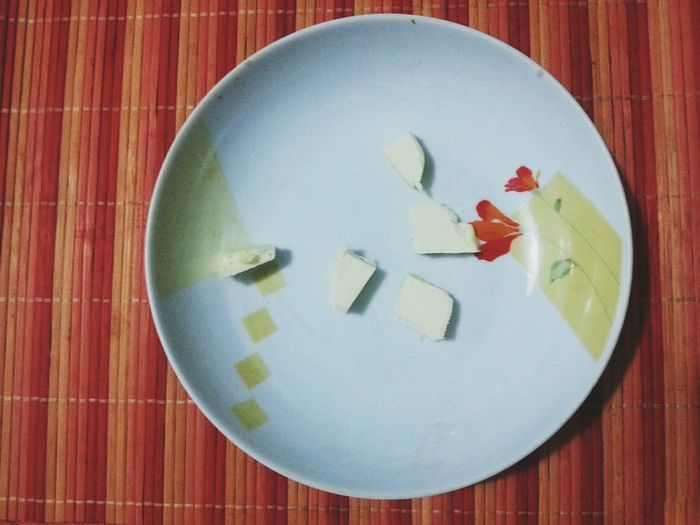Plate with butter. Directly Above Indoors  Plate Table No People Close-up Butter In The Kitchen Smartphone Photography