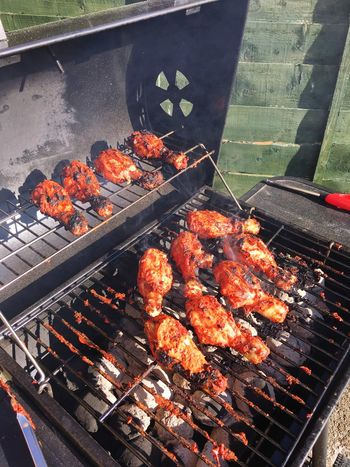 Barbecue Grill Glowing Red Hot Spicy Food Chickenwings Summer Tasty
