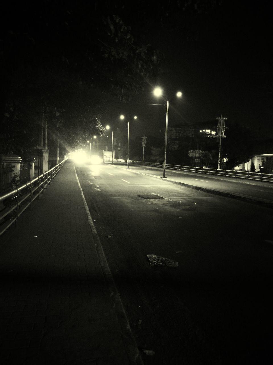 night, illuminated, transportation, street light, road, no people, outdoors, the way forward, railroad track, sky, city, nature