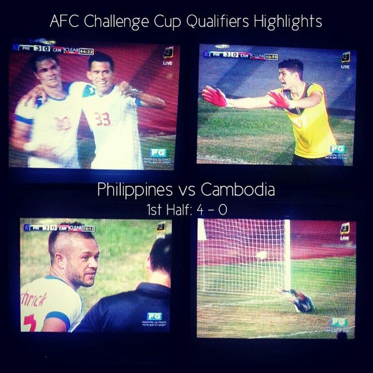 First half now over. PH ahead by 4 - 0 against Cambodia. AfcChallengeCup Philippines Cambodia Football
