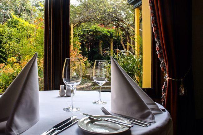 Dinner for two Dinner For Two Dinner Garden View Wine Glasses Dinner Table Dinner Table Set  Garden Through Window