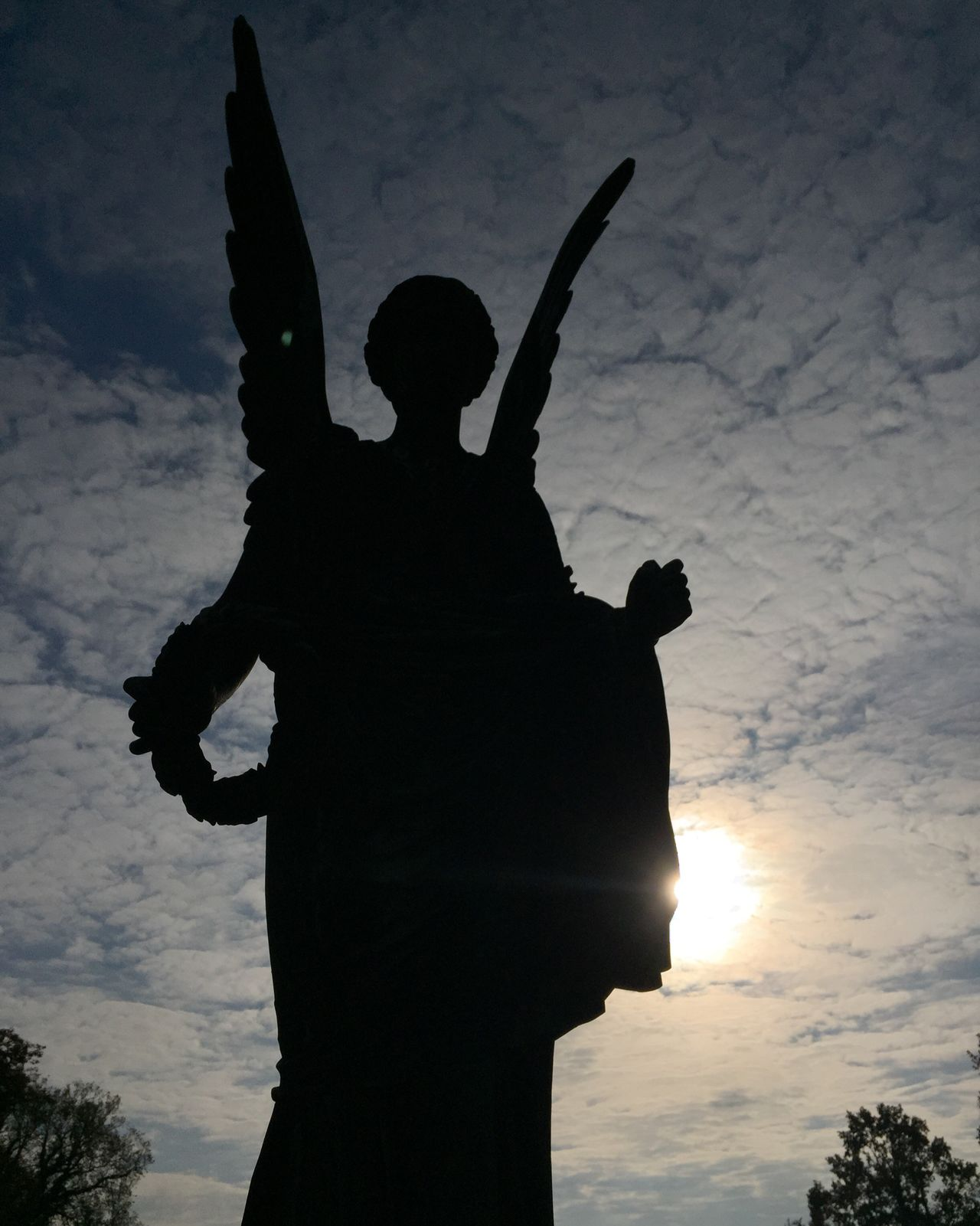 Statue Potsdam Silhouette Sanssouci Park Potsdam Spirituality Grief Angel Goddess Wings Death Love Clouds Protection