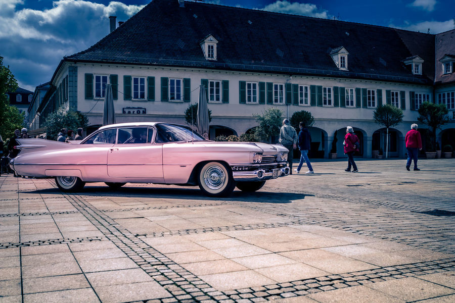 Ludwigsburg, Germany - April 23, 2017: Cadillac Eldorado oldtimer car at the eMotionen event on April 23, 2017 in Ludwigsburg, Germany. Automobile Cadillac Ludwigsburg Retro Auto Cadillac Eldorado Car City Day Editorial  Eldorado Land Vehicle Luxury Old Oldtimer Outdoors People Pink Color Real People Transportation Vintage