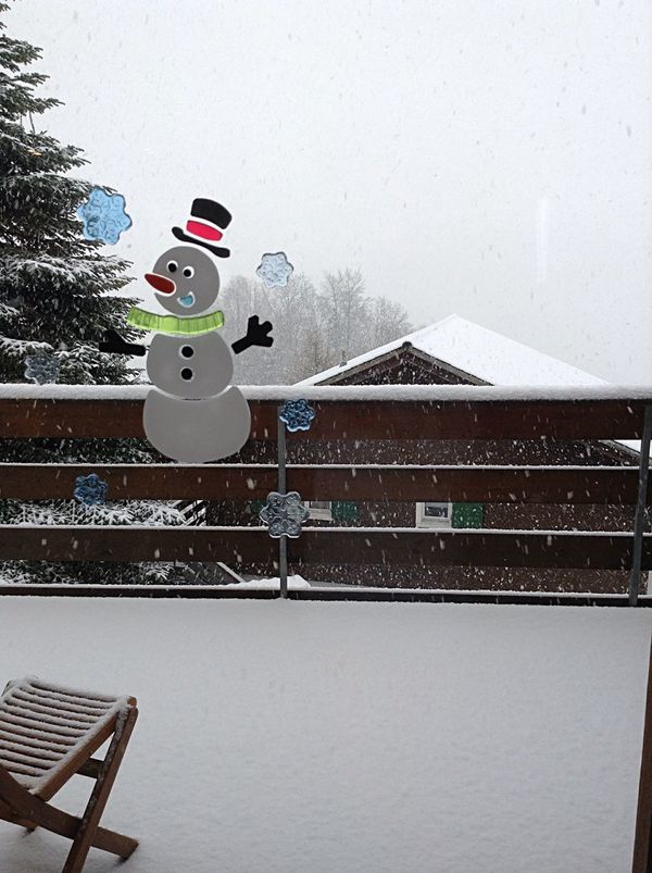 Snow Winter Snowman Balcony Snowflake The Purist (no Edit, No Filter) Switzerland Swiss Alps