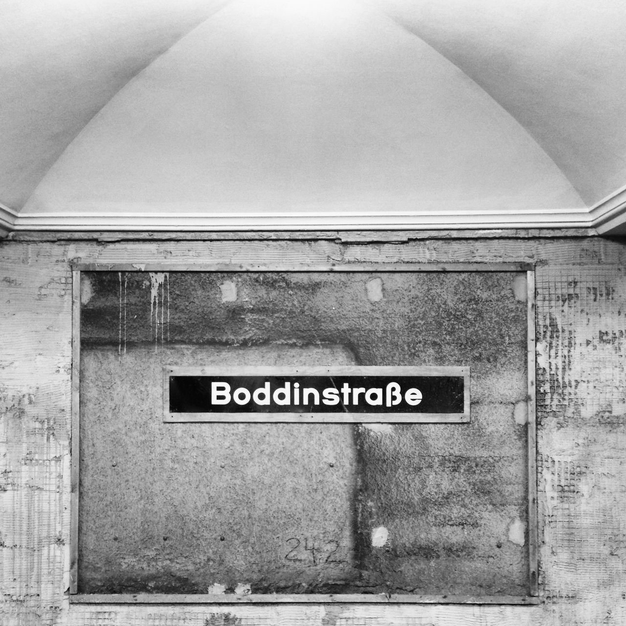 Architecture Black & White Black And White Blackandwhite Boddinstraße Building Exterior Built Structure Close-up Communication Day No People Outdoors Station Subway Station Text