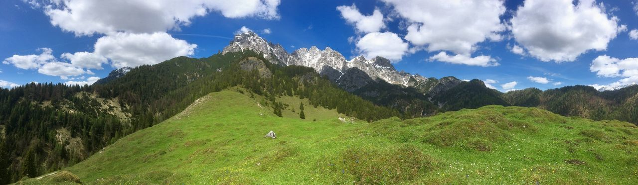 mountain, nature, sky, beauty in nature, green color, cloud - sky, scenics, day, tranquil scene, tranquility, outdoors, landscape, mountain range, growth, grass, no people, peak, animal themes, tree