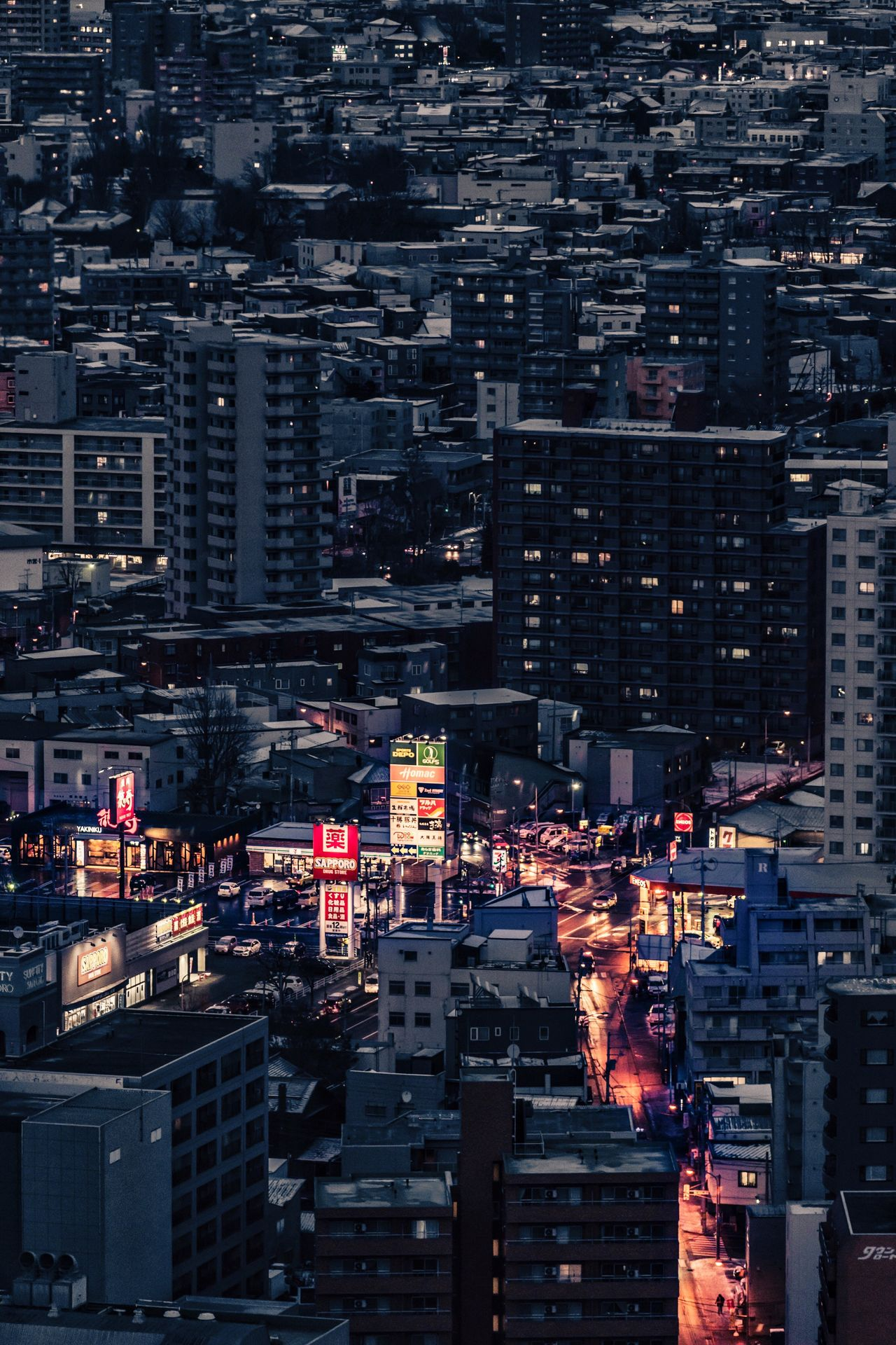 The night of Sapporo My Traveling Photography My Street Photography From My Point Of View City Cityscape Building Exterior Travel Destinations Architecture Skyscraper Crowded City Life Aerial View Tower Capture The Moment Night Photography Light And Shadow Skyline